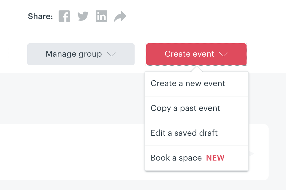 Creating an event – Meetup