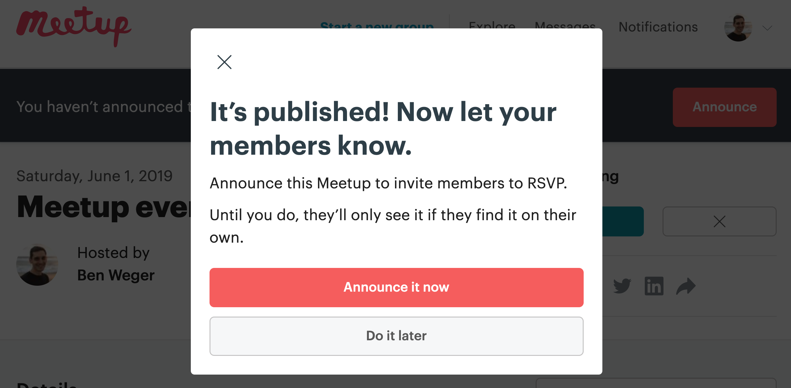 Announcing your events – Meetup