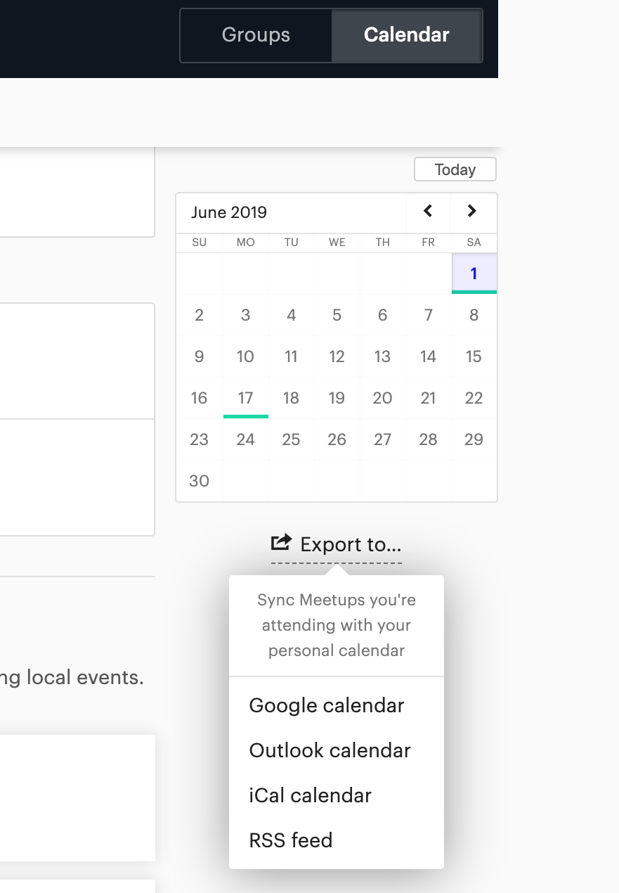 Exporting a group or personal event calendar – Meetup